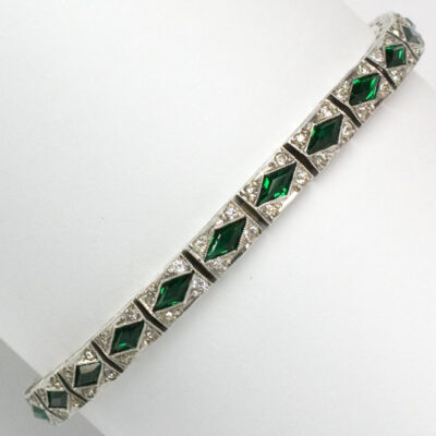 Vintage costume bracelet with emerald, diamante and sterling