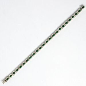 Art Deco emerald, diamante & sterling bracelet