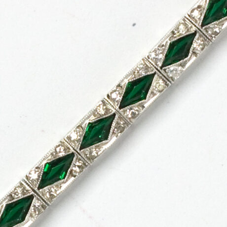 Close-up view of emerald Art Deco bracelet