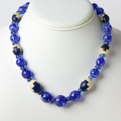 Sapphire bead necklace in puzzle design