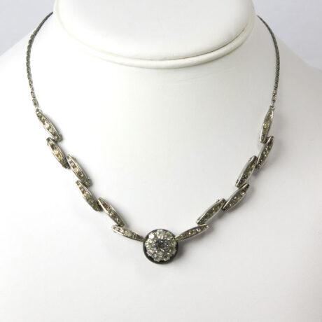 Plaque necklace with diamanté links & Bakelite