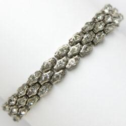 Honeycomb bracelet with 3 rows of diamanté
