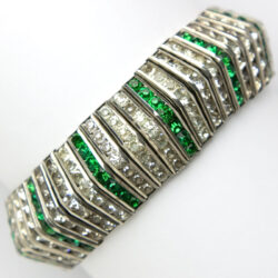 Art Deco emerald bracelet with diamanté