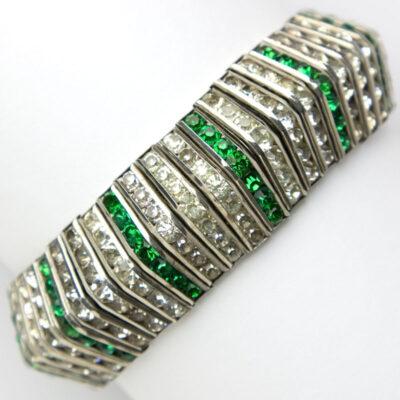 Art Deco emerald bracelet with diamanté