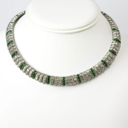 Vintage choker necklace with emerald & diamanté