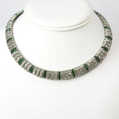 Vintage choker necklace with emerald & diamanté