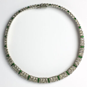 Emerald & diamanté German Art Deco flexible choker