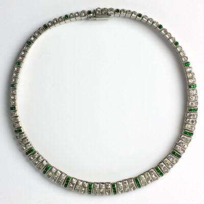 Emerald & diamanté German Art Deco flexible choker