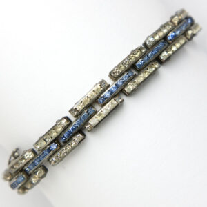 Sapphire and diamante bracelet in tank track pattern