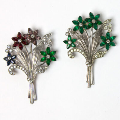 Flower bouquet brooches in sterling by Otis