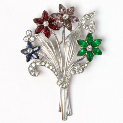 Otis sterling brooch with sapphire, ruby, amethyst & emerald flowers