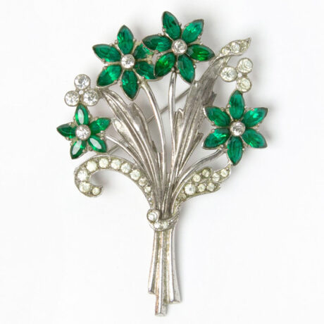 Otis bouquet brooch with emerald flowers