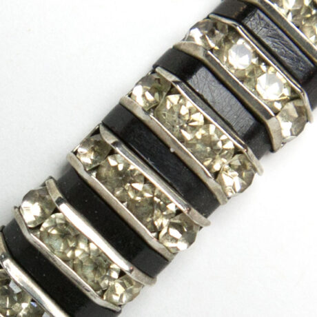 Close-up view of diamante & Bakelite links