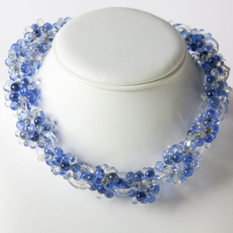 Vintage glass bead necklace in shades of blue with rings