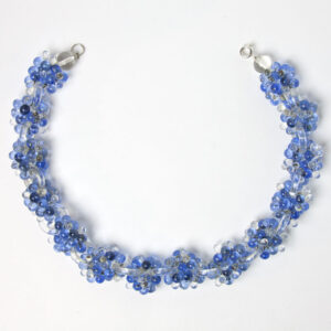 Blue bead & glass ring Art Deco necklace