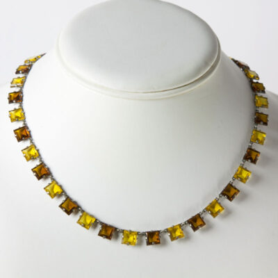 Citrine and topaz necklace in chicklet style
