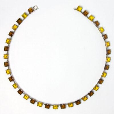 Citrine & topaz Art Deco chicklet necklace