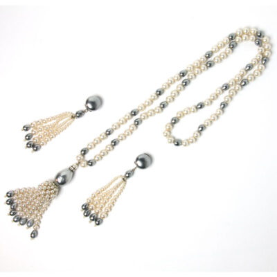 Louis Rousselet pearl sautoir and earrings set