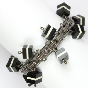 Vintage charm bracelet with black & white cubes