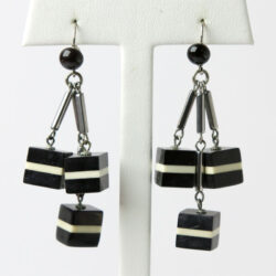 Art Deco dangle earrings with black-and-white cubes