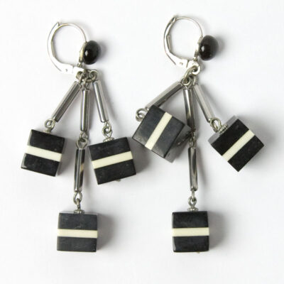 Art Deco earrings with trio of dangling cubes