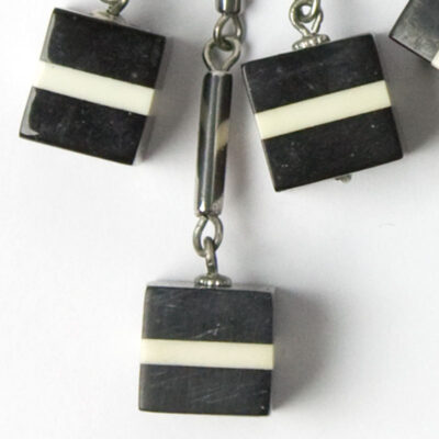 Close-up view of cube earrings