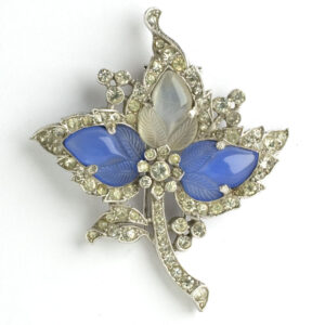 Trifari dress clip with blue chalcedony & moonstone fruit salads