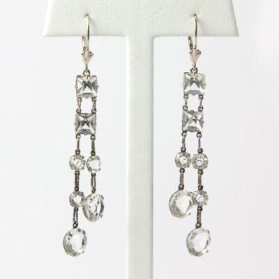 Crystal dangle earrings with square & round chicklets