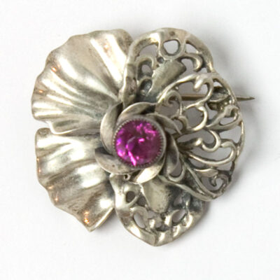 Close-up view of one brooch