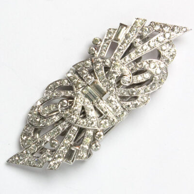 Double clip brooch by Mazer Bros.