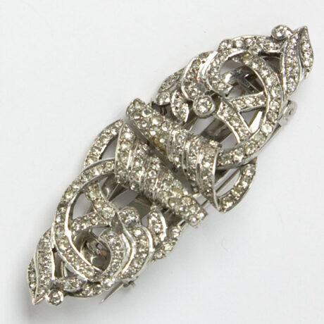 Diamanté brooch with scrolls & swirls