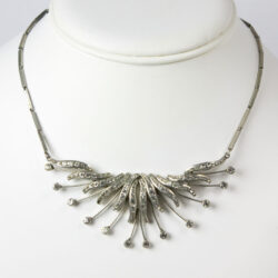 Vintage bib necklace with diamanté spray
