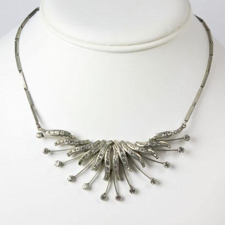 Vintage bib necklace with diamanté spray