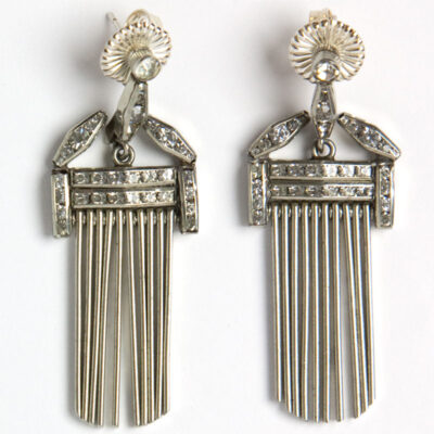 Front of German Machine Age earrings