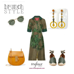 Casual dress in warm tones with apple juice celluloid Art Deco drop earrings