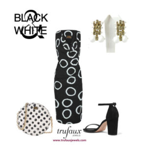 Black & white dressy ensemble with white Machine Age earrings