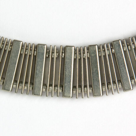 Close-up view of necklace back, showing construction