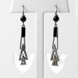 Camphor glass earrings with diamante and onyx