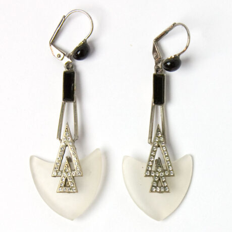 Front view of camphor glass Art Deco style earrings