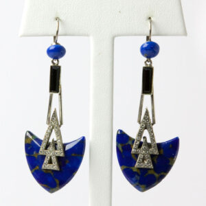 Art Deco-style earrings with lapis and diamante