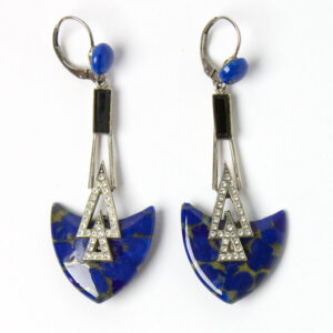 Front of lapis & diamante pendant earrings