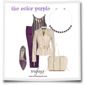 Amethyst chicklet necklace styled with purple and cream outfit