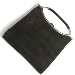 Black suede handbag with chrome trim