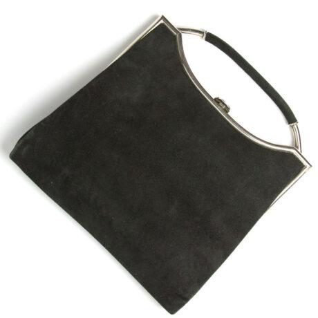 Black suede handbag with chrome trim