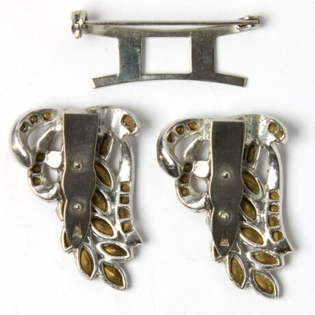 View of clip backs and brooch mechanism