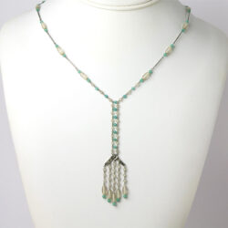 Camphor glass necklace with chrysoprase beads