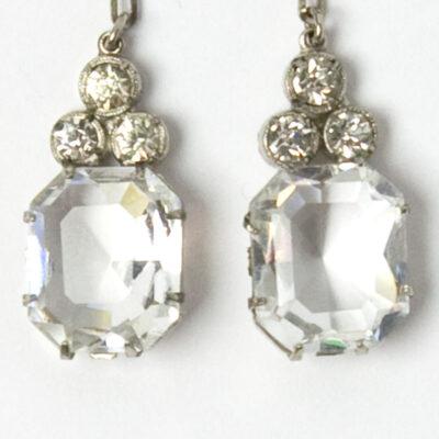 Close-up view of princess-cut stones