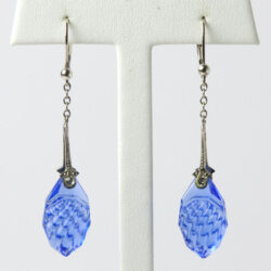 Czech glass earrings with sapphire blue drops
