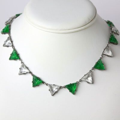 Triangle necklace with alternating emerald and crystal links