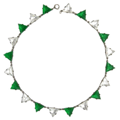 Front of emerald & crystal triangle necklace